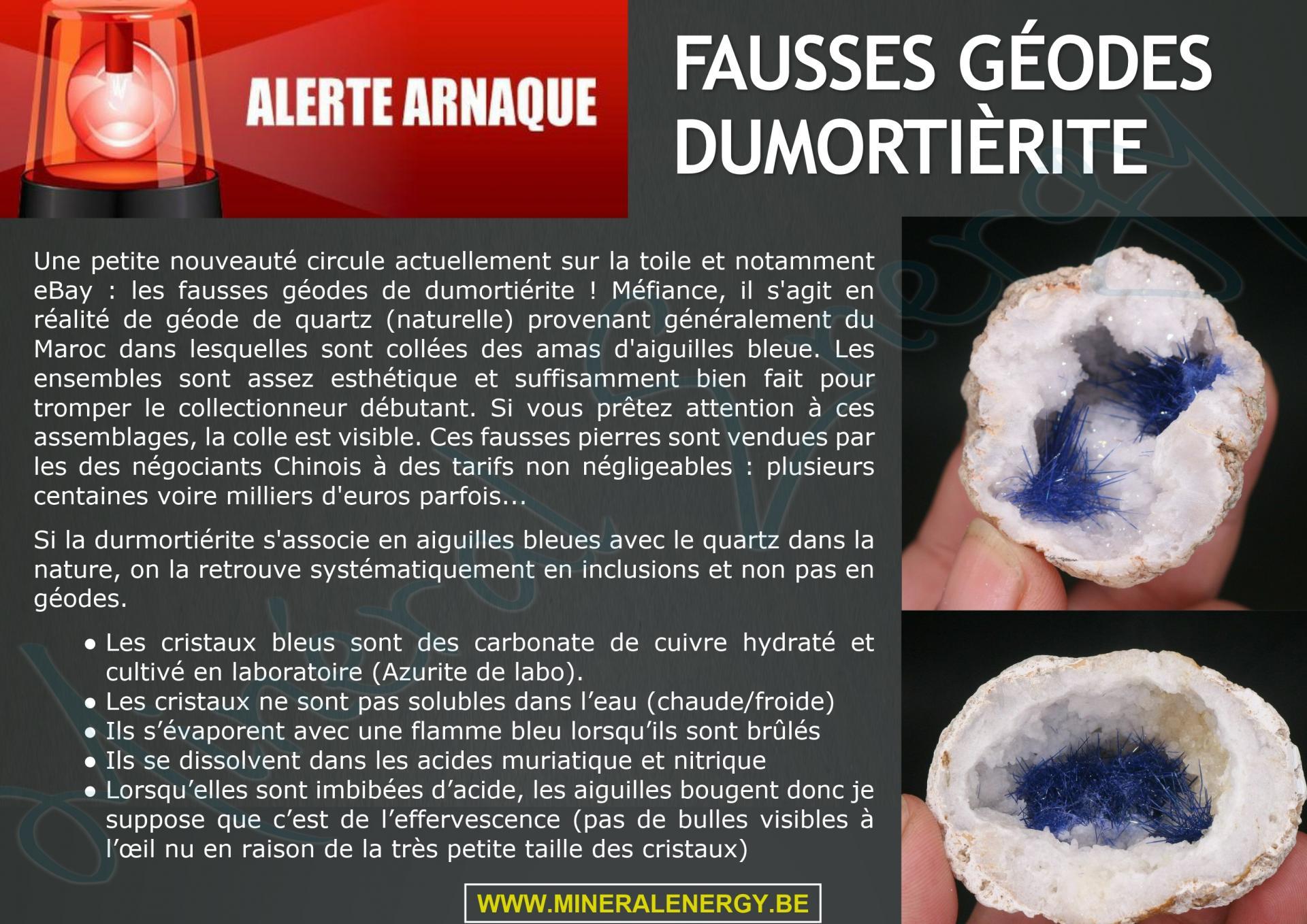 Attention arnaque geode dumortierite
