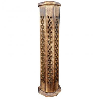 Porte encens tour octogonale antique ciselee 30cm