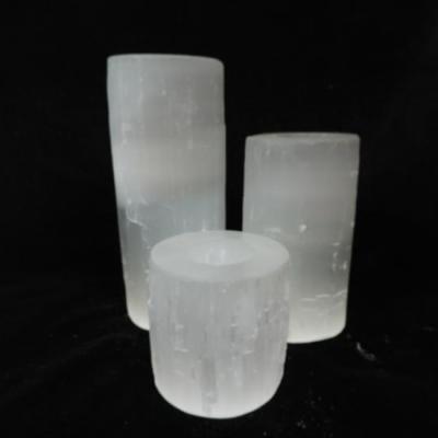 Seleniet theelicht cilinder set van 3 wit nieuw
