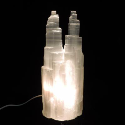 Witte seleniet lamp tweeling toren