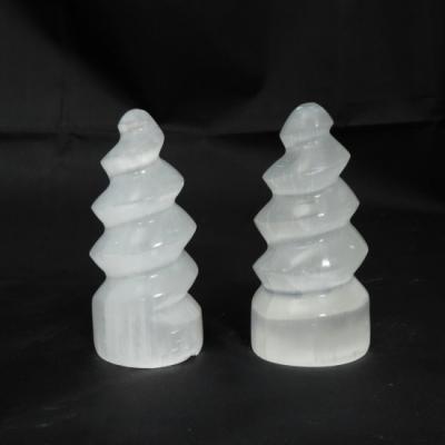 Witte seleniet spiraal torentje 10 cm nieuw