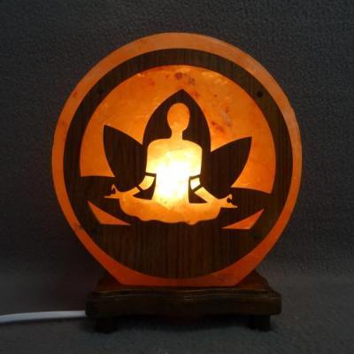 Zoutlamp lotus hout