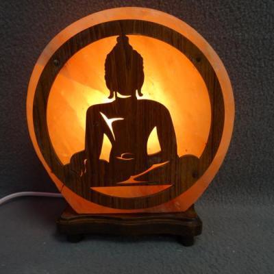 Zoutlamp met boeddha hout
