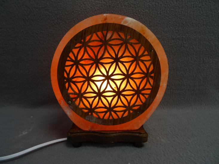 Zoutlamp met flower of life hout nieuw