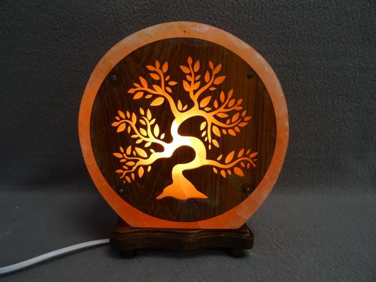 Zoutlamp met tree of life hout nieuw